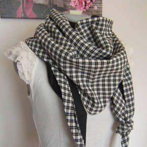 cf81db0c581 Foulard chèche triangle echarpe doublée réversible en coton à carreaux  vichy noir et blanc