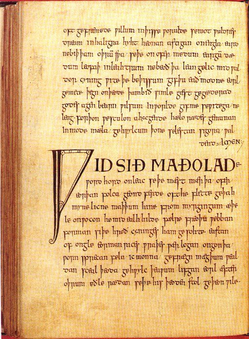 Exeter Book, 10th century AngloSaxon poetry Anglo saxon