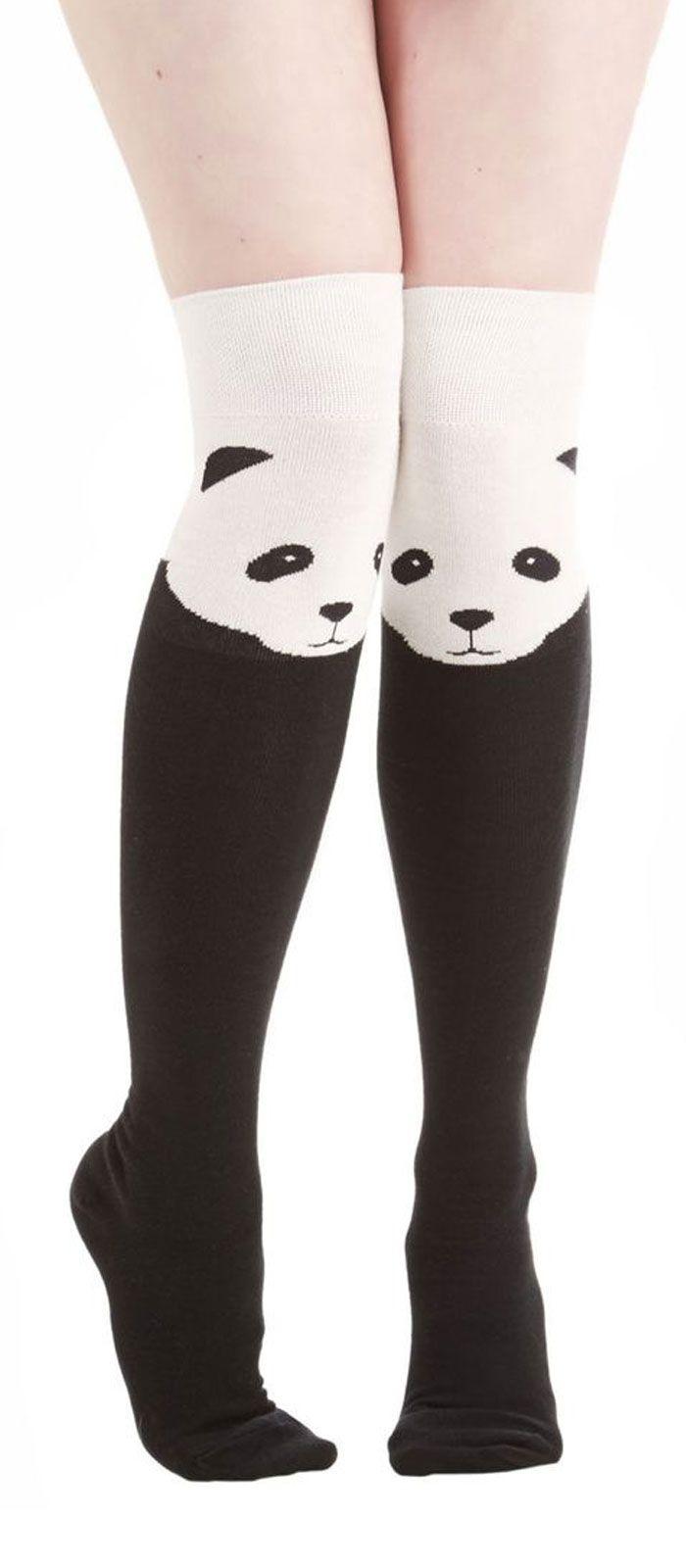 d633e1c23cf Panda knee high socks!