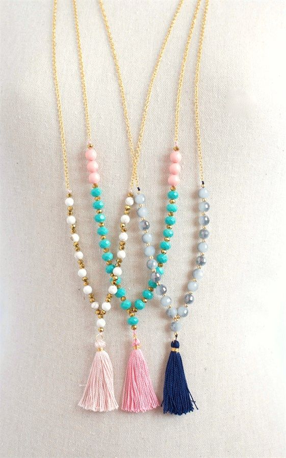 Silk tassel necklace  Long black tassel necklace Beaded tassel necklace  with ethnic pattern