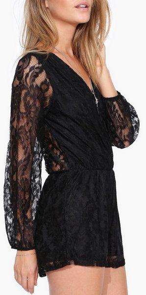 Lace Romper in Black