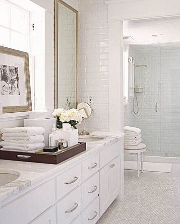 bathrooms - white carrara carrera marble countertops hexagon tiles floors  subway tiles chrome mirror Clean crisp white bathroom design with- DREAM ...