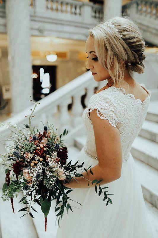Burgundy Dusty Pink And Slate Blue Wedding Flowers Bridal