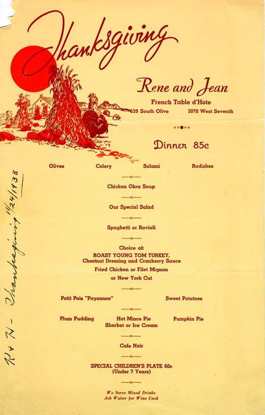 The Velvet Turtle Sams Cafe 1938 Thanksgiving Menu Menu