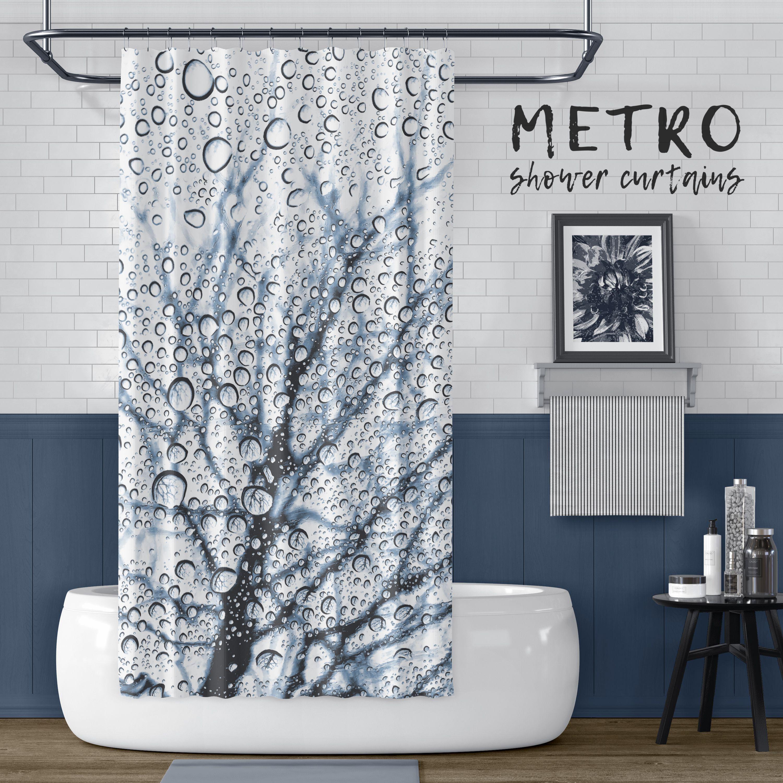 Slate Blue Tree With Raindrops Print Shower Curtain Blue Shower Curtains Printed Shower Curtain White Bathroom Designs