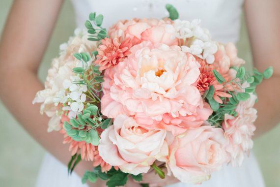 Blush Bridal Bouquet Peach Bouquet Blush Bouquet Peony Bouquet