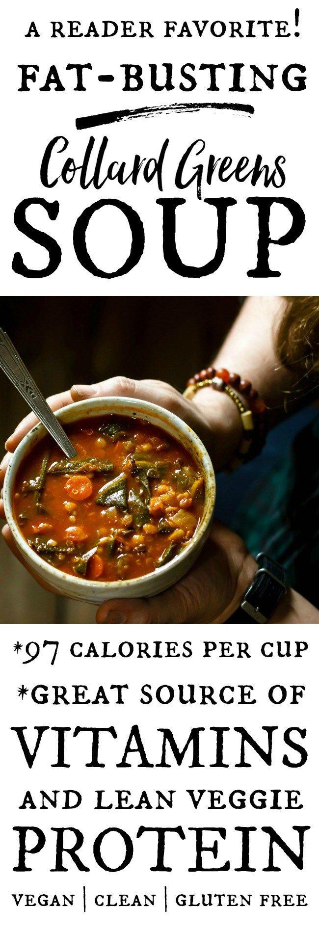 Fat-Busting Vegetarian Collard Greens Soup #favoriterecipes