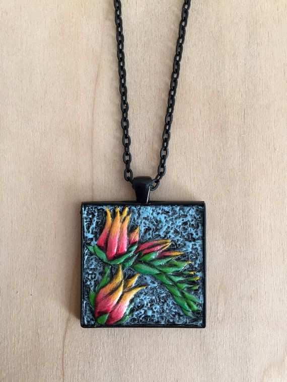 Hand-Tooled Leather Succulent Pendant in Black by JosieDybeDesigns  #Leather #Southwest #Fashion #JewelryDesigner #handmade #Necklace #terrarium #succulent