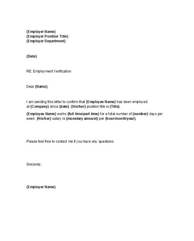 Proof Of Employment Letter 25 Employment Letter Sample Letter Of Employment Letter Templates