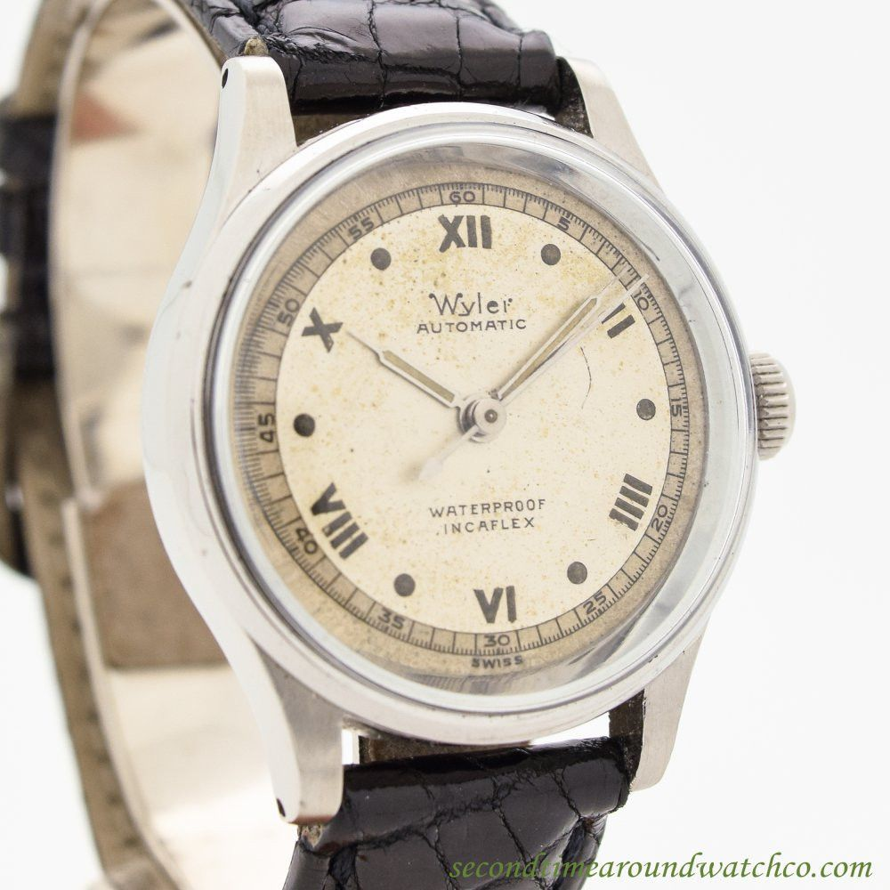 183c10012f5 1960 s Vintage Wyler Incflex Stainless Steel watch with Unique Silver  Patina Dial with Even Roman Numerals. Suitable for a Man or a Woman. Triple  Signed.