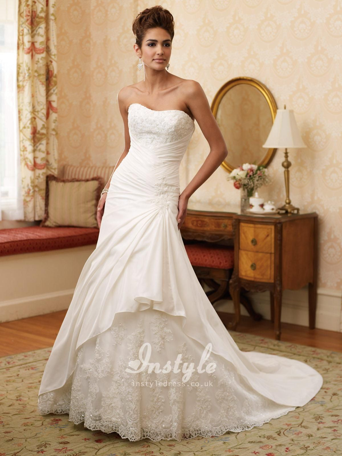 Wedding dress short in front with long train  strapless taffeta aline wedding dress  Wedding ideas  Pinterest