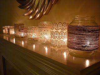 Lace and twine covered mason jars - lighting idea