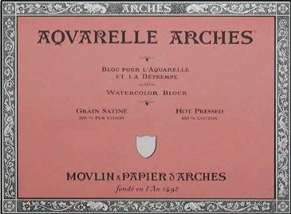 Arches Watercolor Block 140 Pound Hot Press Paper 9 X 12 Sheets
