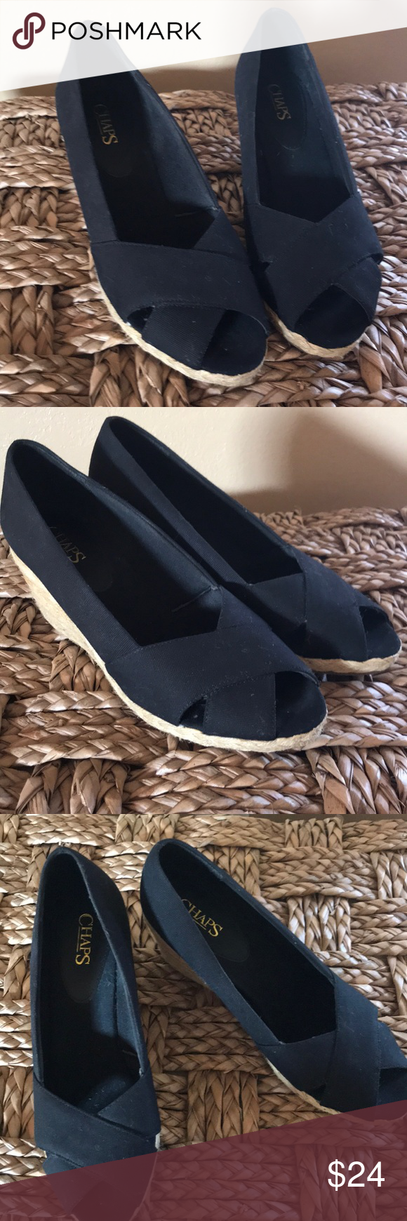 4f30fe70bc59 Women s Chaps wedges EUC Black and natural wedges with open toe. Chaps Shoes  Wedges