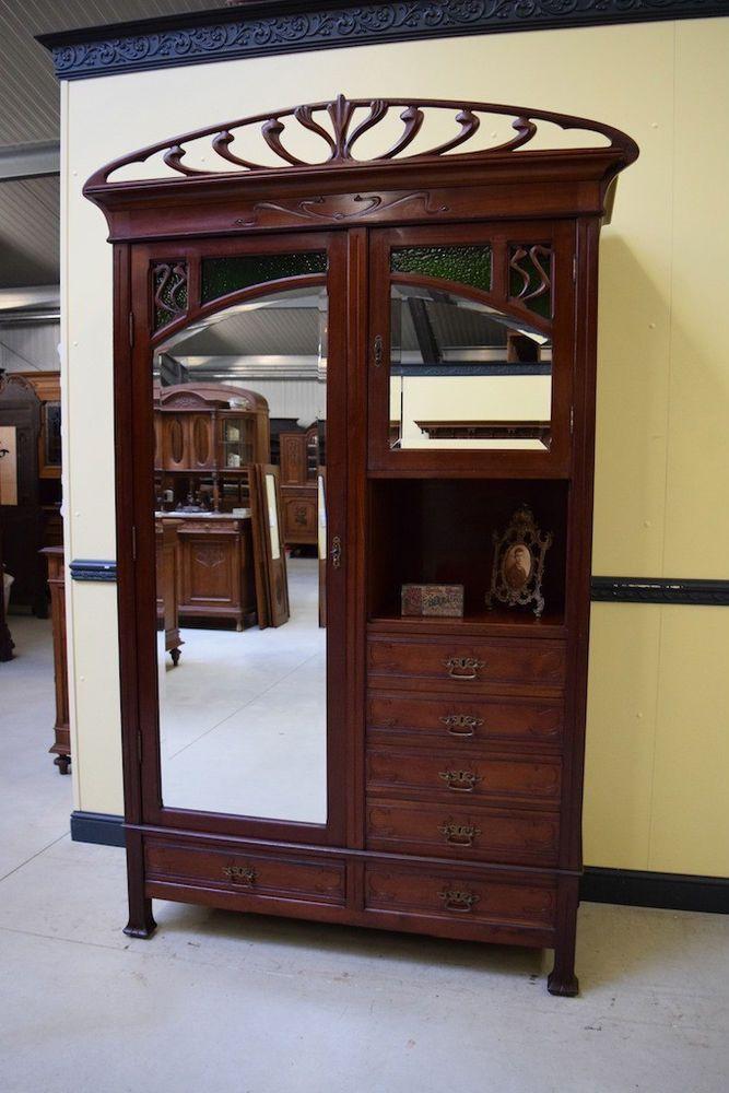 sensationeller mahagoni jugendstil w scheschrank geschirrschrank art nouveau schrank. Black Bedroom Furniture Sets. Home Design Ideas