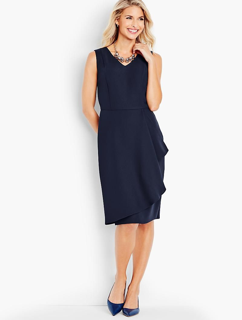 Refined Crepe Side Drape Sheath Dress Talbots Dressy Summer Dresses Classic Sheath Dress Dresses [ 1057 x 800 Pixel ]