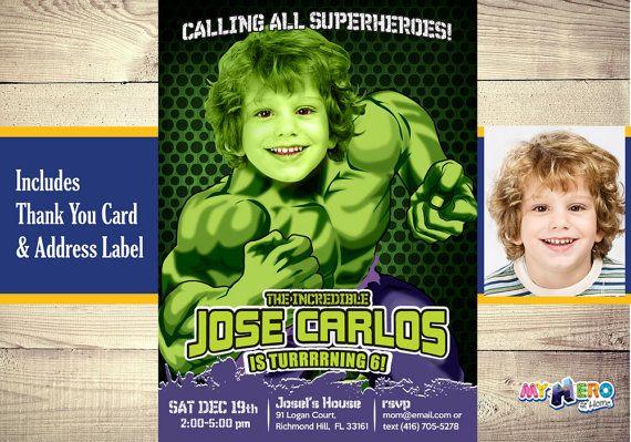 Turn your boy into Hulk Hulk Invitation Incredible Hulk