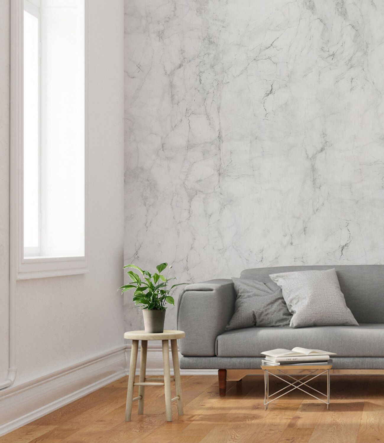 Grey And White Marble Wallpaper Home And Business Wall D