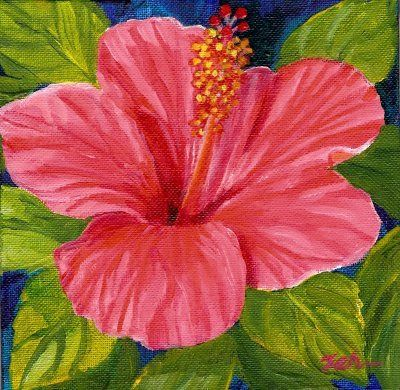 Hibiscus Acrylic Painting With Images Flower Painting Canvas