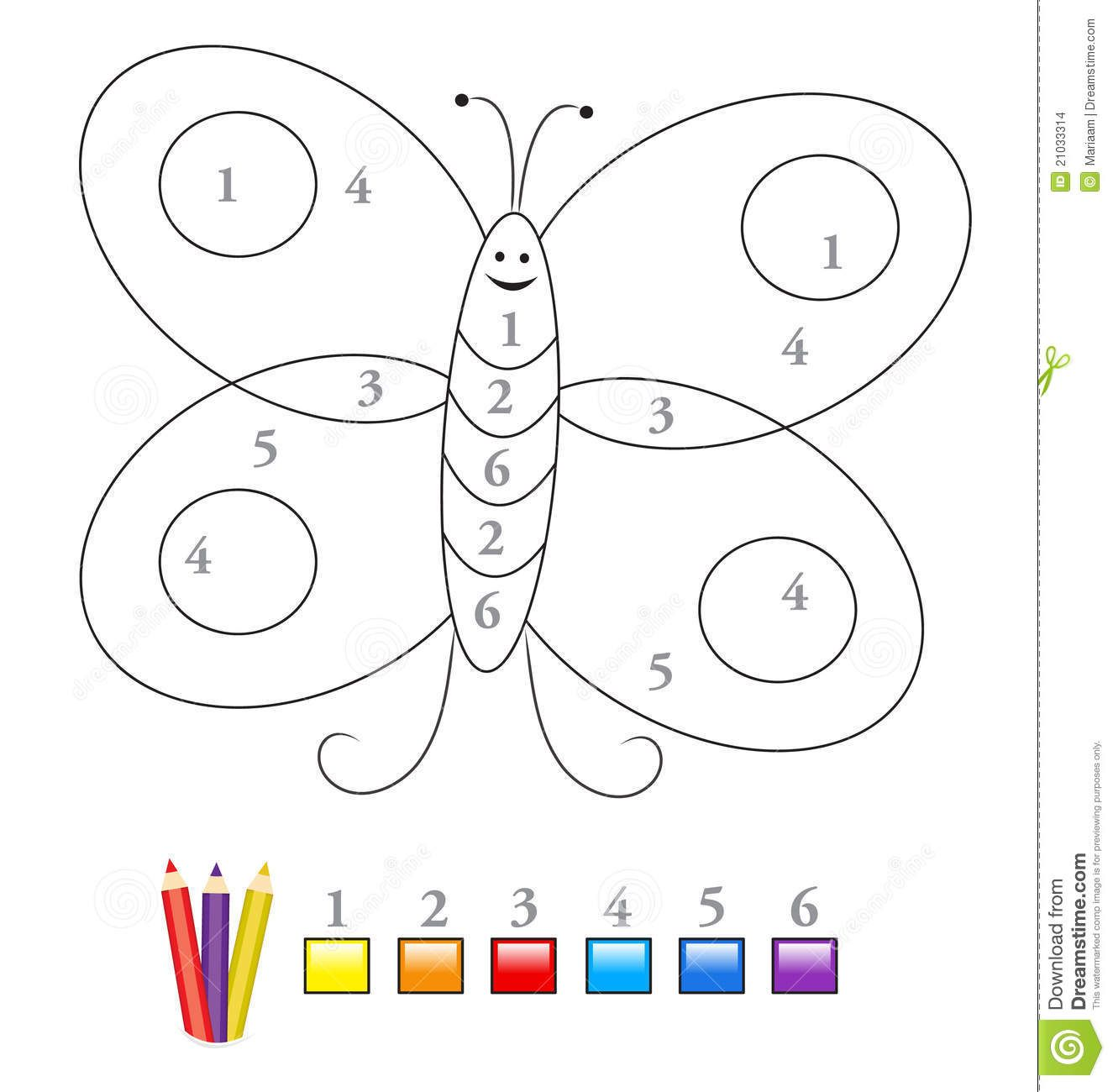 Color By Number Game Butterfly Stock