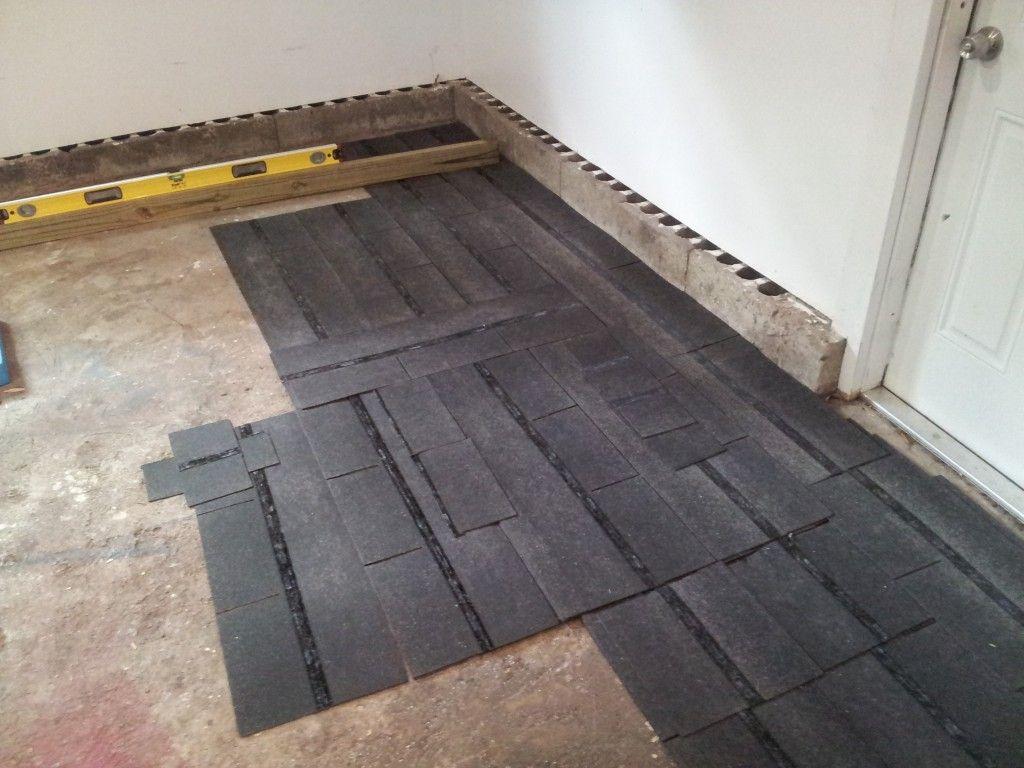 Garage floor level first round of tiles garage gym garage