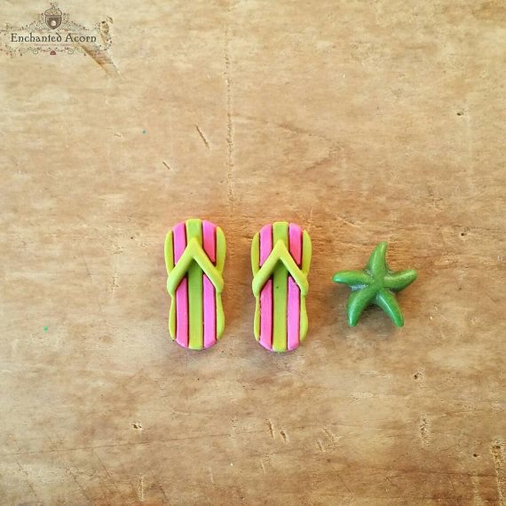 2 pairs of flip-Mini Sandals 3,0 cm Dekofigur hobbyfun Deco Nautical Holiday 3860