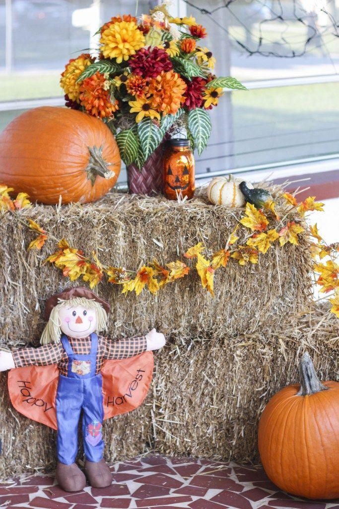 Decorate your front porch with hay bales, scarecrows, pumpkins, and mums for a b...#bales #decorate #front #hay #mums #porch #pumpkins #scarecrows