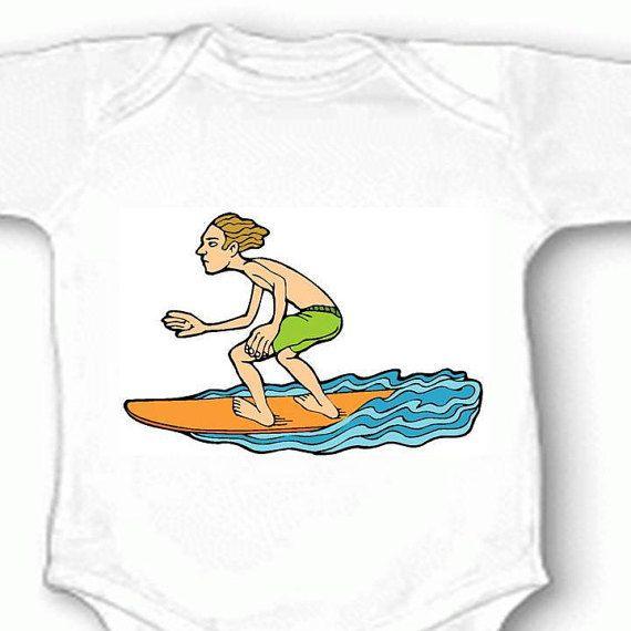 Surfer Baby Bodysuit Surfing Surfboard Newborn Infant Boy by dbca
