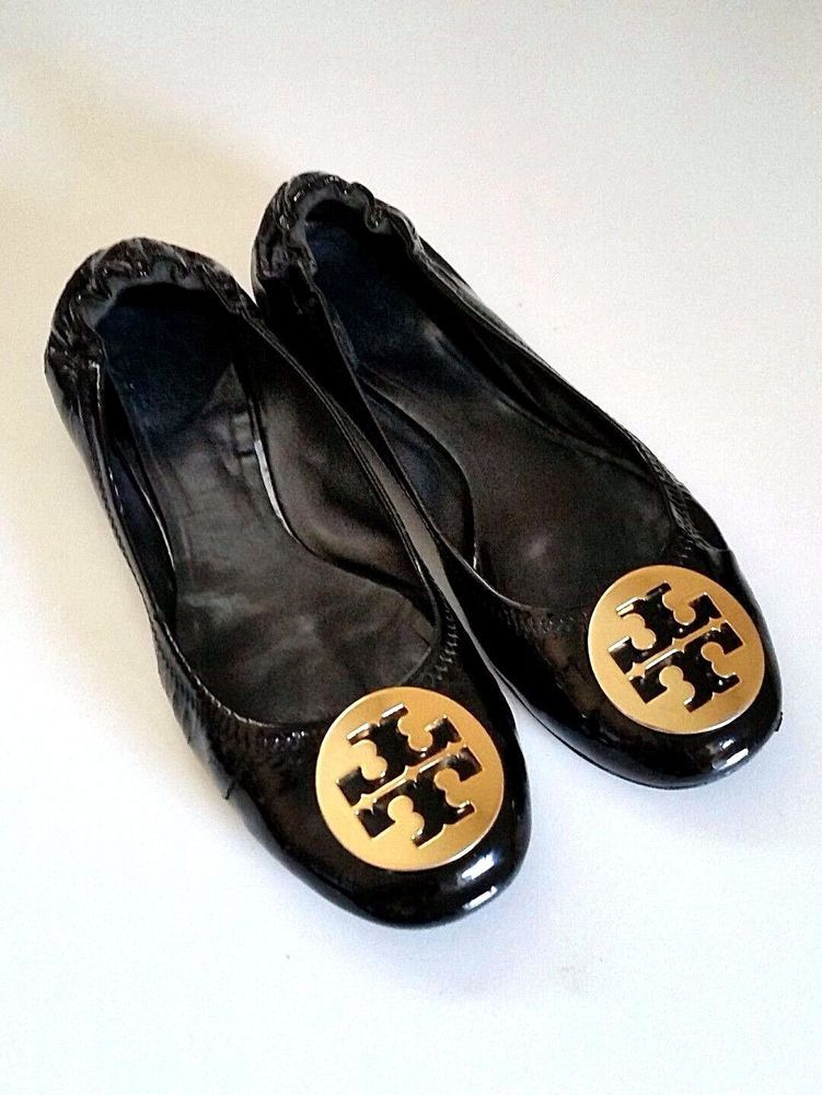 Tory Burch Women Reva Patent Leather Ballet Flat Medallion Gold Logo 8  Ballerina