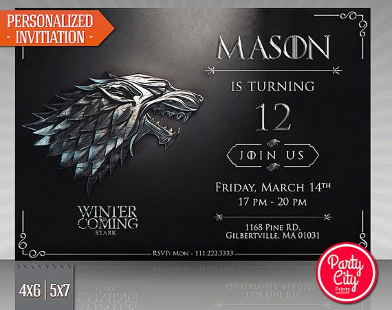 Hey i found this really awesome etsy listing at httpsetsy game of thrones invitation house stark of par partycityprints filmwisefo Choice Image