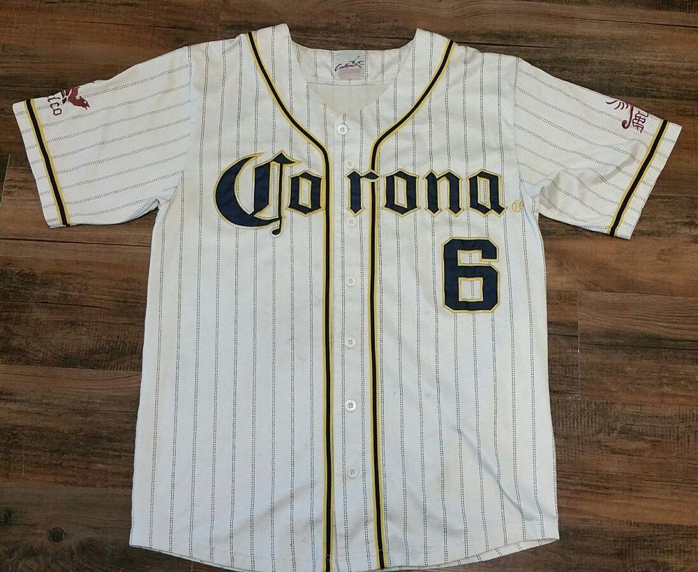 Corona Beer 6 White Pinstripe Stitched Baseball Jersey Men Medium Mexico  Calhoun  Calhoun  Jerseys 8fa034781