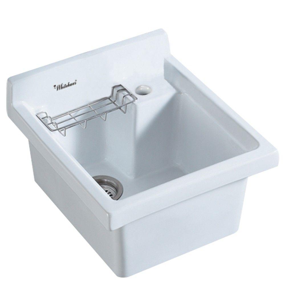 Vitreous China Single Bowl Utility Sink Single Bowl Kitchen Sink Laundry Room Sink Utility Sink