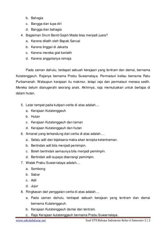 Soal Dan Jawaban Uts Bahasa Indonesia Kelas 4