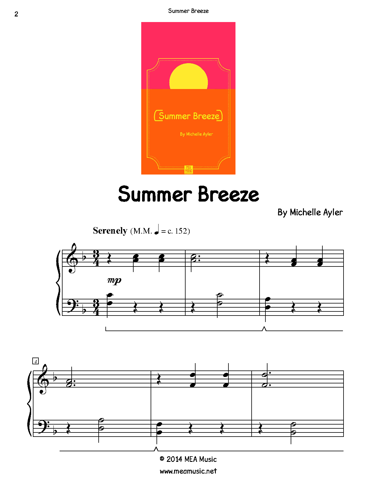 Summer Breeze Piano Sheet Music Solo First Page Sample Of A