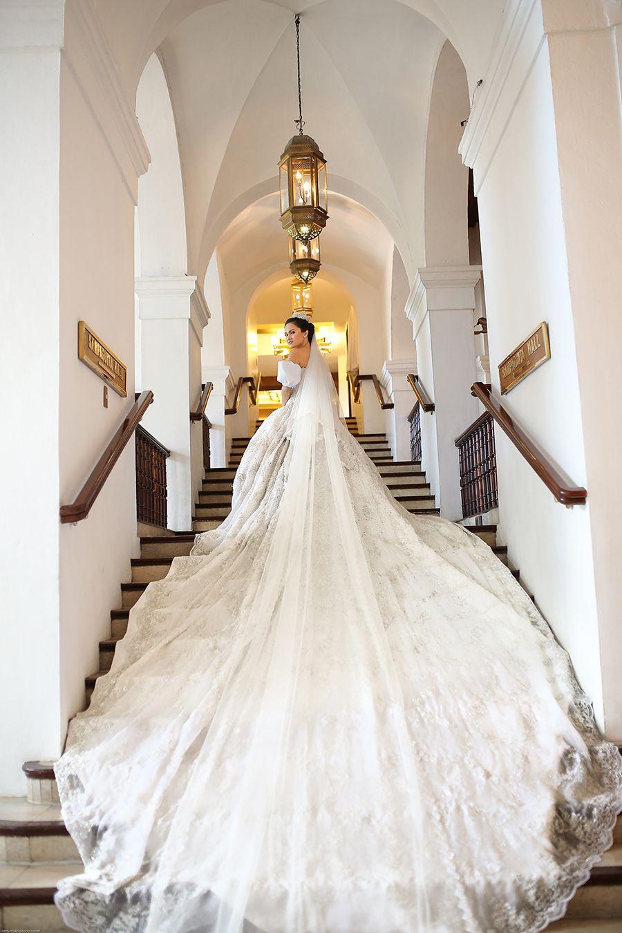 Fairy Tale Wedding With A Cinderella Bride And Disney Princess Bridesmaids Long Train Wedding Dress Wedding Dresses Cinderella Disney Princess Wedding Dresses [ 1350 x 900 Pixel ]
