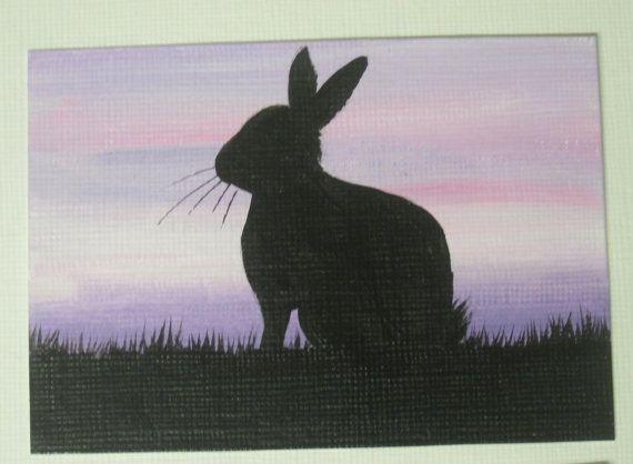 Bunny Rabbit ACEO original painting purple by DandelionsGallery