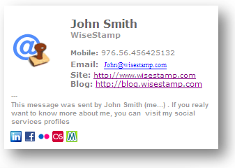 Email Signature tool: WiseStamp: SIG signature sample: | Tools I ...