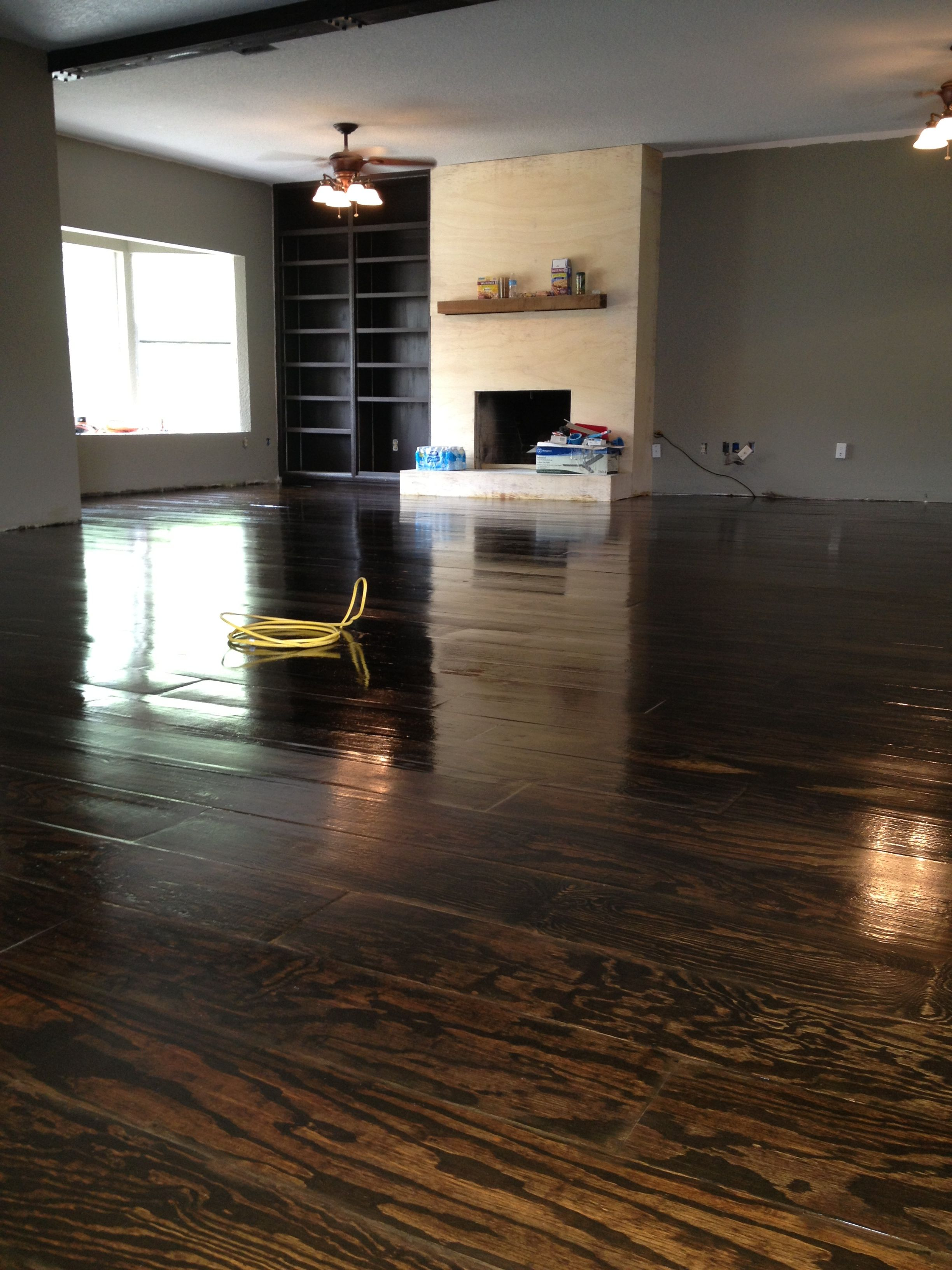 Custom Plywood Flooring Espresso Stain And Four Coats Of Polyurethane These Are Our Floors Yay Plywood Flooring Flooring Plywood Floor