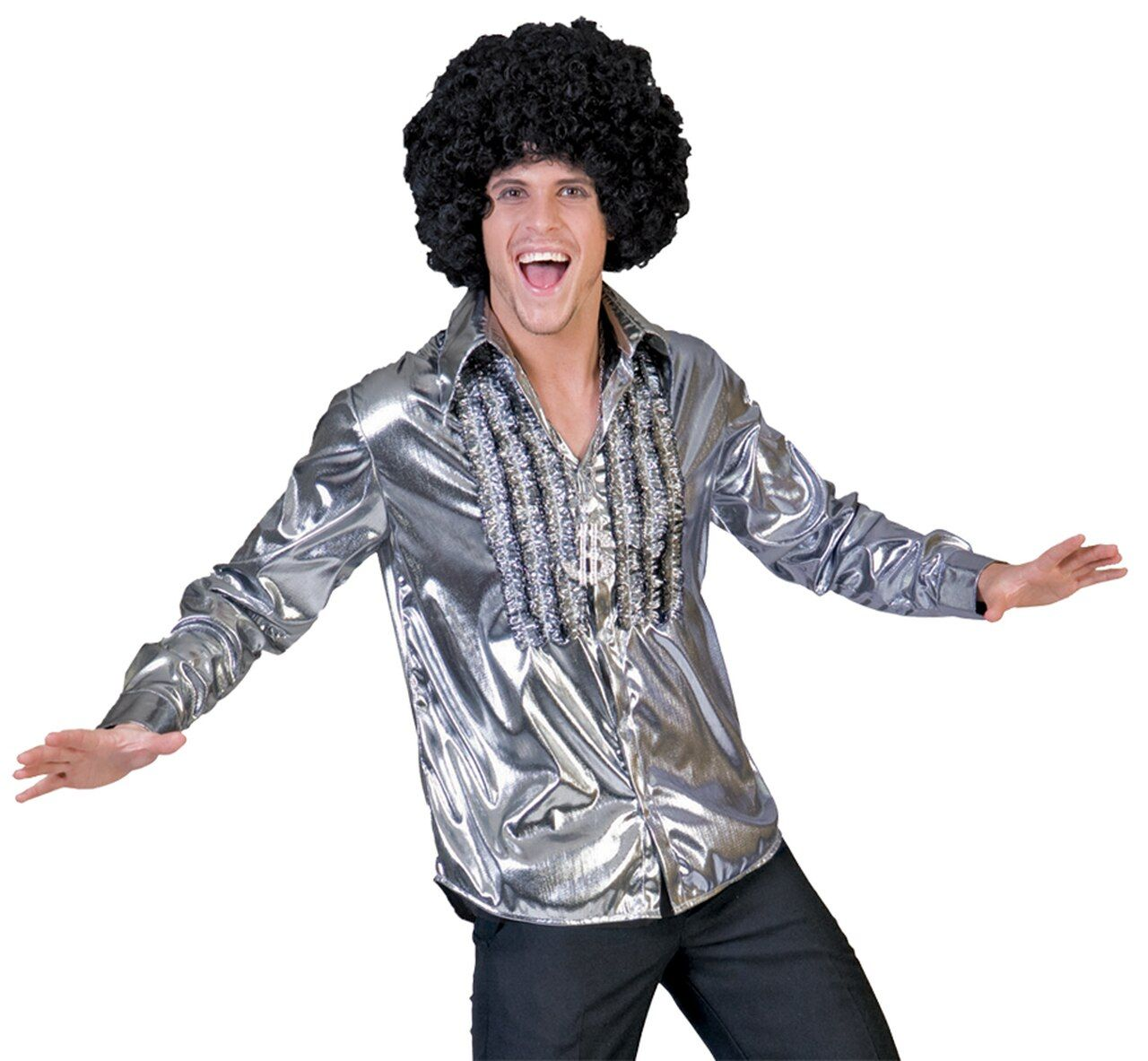 Disco Ruffle Shirt 1970s Mens Fancy Dress Saturday Night Fever 70s Adult Costume