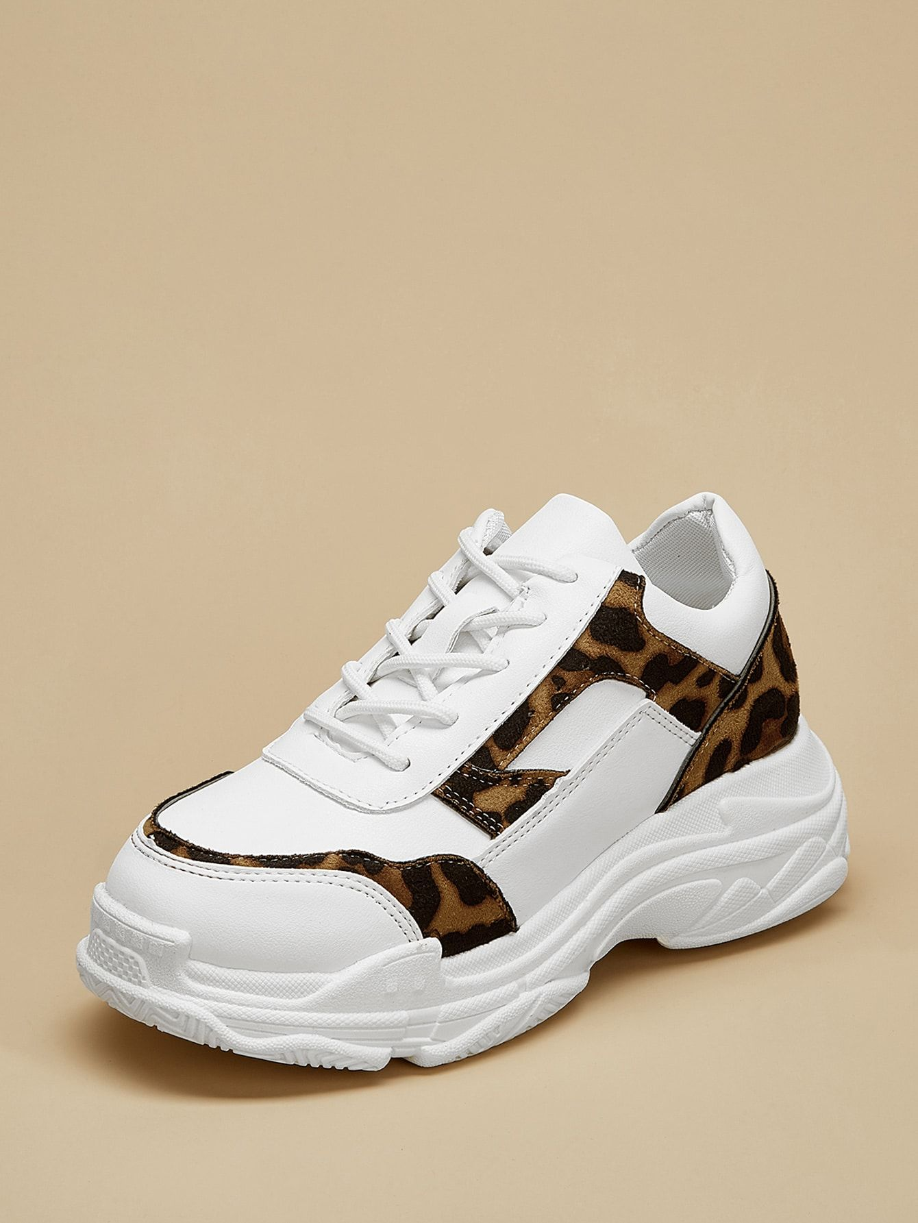 347932888f Sporty Round Toe Leopard Multicolor Chunky Leopard Pattern Lace-up Chunky  Sneakers