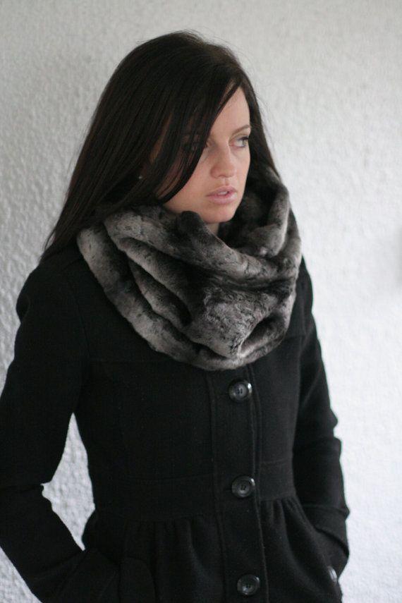 Black And Grey Faux Fur Infinity Scarf Fabulous Fur