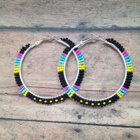 Native American beaded hoops by BuffaloGirlCreative on Etsy, $25.00