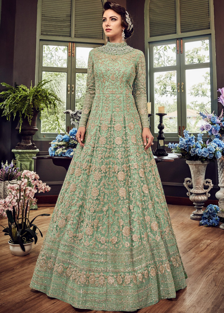 14352818e1f7b2 Mint Green Designer Heavy Embroidered Net Bridal Anarkali Gown in ...