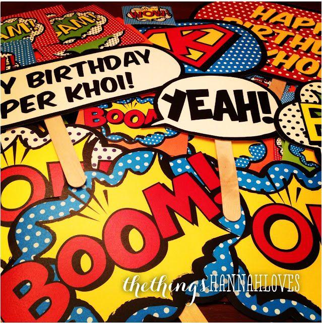 superhero party free photobooth decor printables i love party rh pinterest com