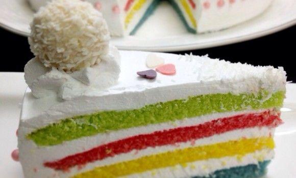 كيك الوان قوس قزح بالخطوات المصوره Cake Desserts Food