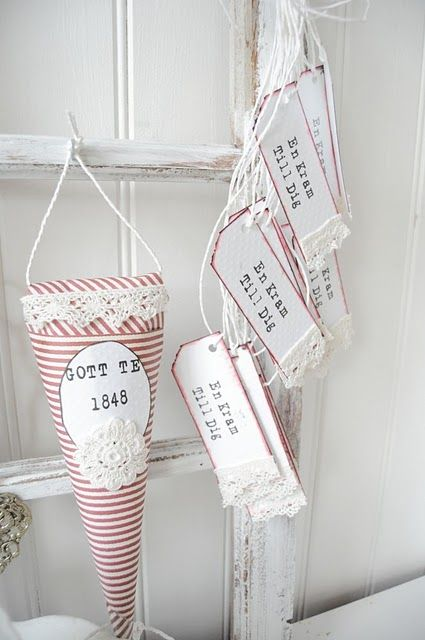 pretty little cones with matching tags...