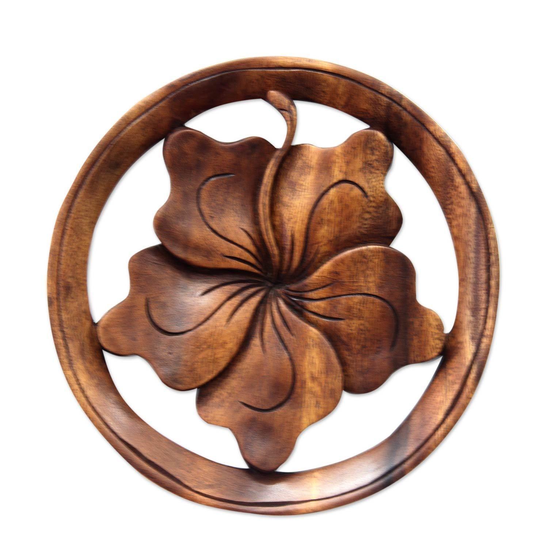 Novica wood relief panel ubalinese hibiscus floweru novica wood