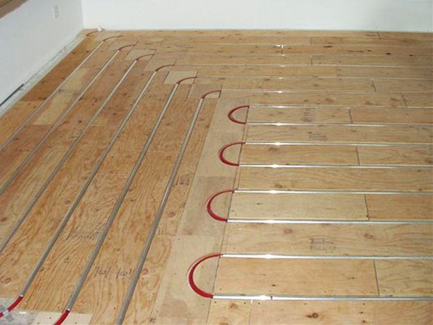 Thermofin U And Pex Tubing With Plywood Sleepers In Floor Radiant