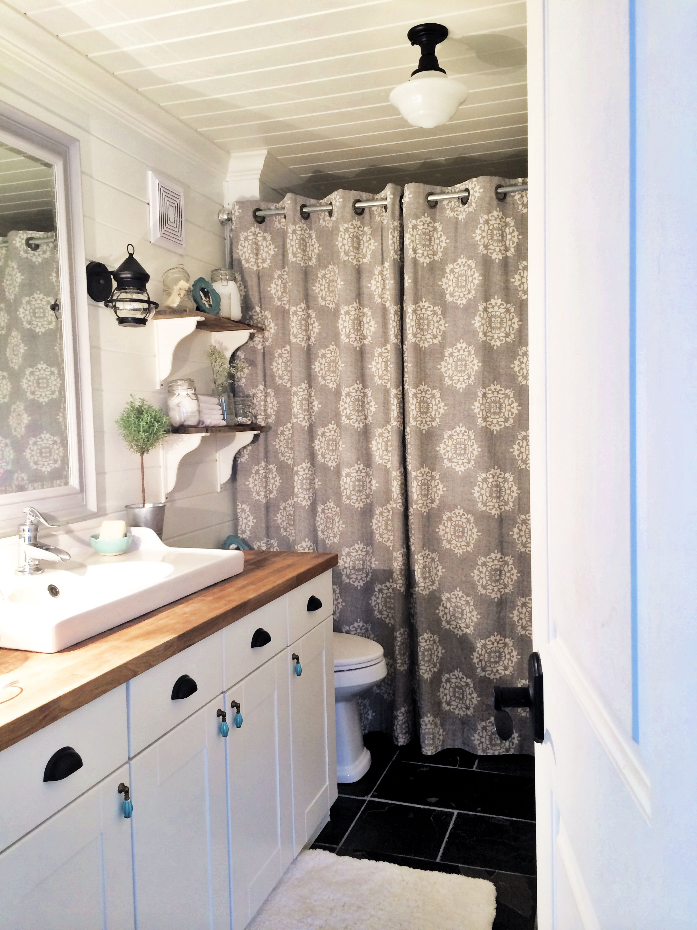 How To Create a Kid Friendly Farmhouse Bathroom! Before