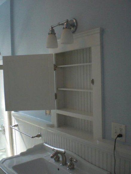bathroom wainscoting w built in medicine cabinet basement rh pinterest com